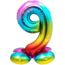 Regenboog Folieballon Cijfer 9 Op Standaard - 81cm