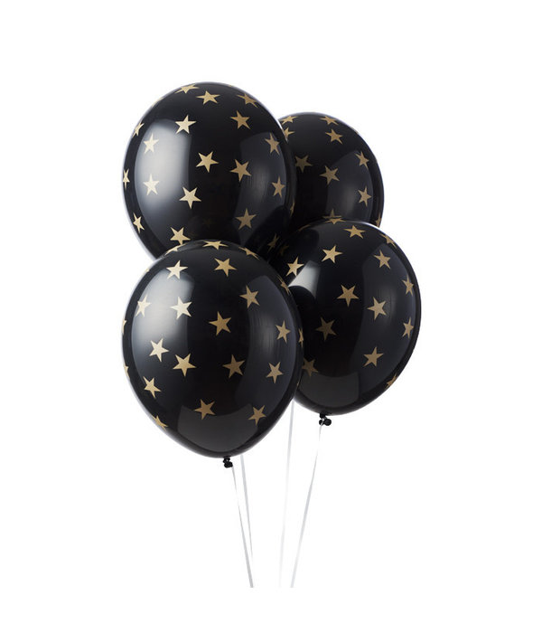 6 zwarte pastel ballonnen met gouden sterretjes