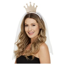 Tiara Kroontje Bride To Be Met Sluier Goud