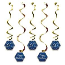Hangdecoratie Swirls 60 Jaar Navy Blauw/Goud (5st)