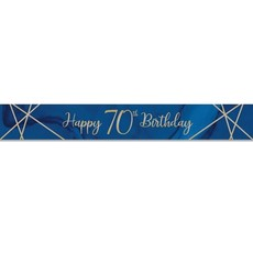 Foliebanner 70 jaar Navy Blauw/Goud (275cm)