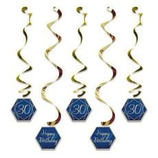 Hangdecoratie Swirls 30 jaar Navy Blauw/ Goud (5st)