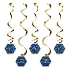 Hangdecoratie Swirls 40 jaar Navy Blauw/ Goud (5st)
