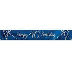 Foliebanner 40 jaar Navy Blauw/Goud (275cm)