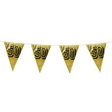 Holografische vlaggenlijn '50' goud (8m)