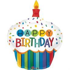 Folieballon Happy Birthday Cupcake Rainbow (73x91cm)
