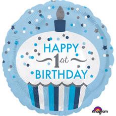 Folieballon 1 Jaar Cupcake Blauw Rond (43cm)