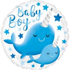 Folieballon Baby Boy Narwal (43cm)