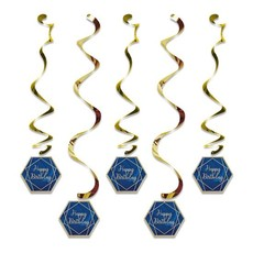 Hangdecoratie Swirls Happy Birthday Navy Blauw/Goud (5st)