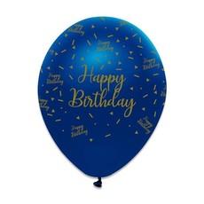 Ballonnen Happy Birthday Navy Blauw/Goud (6st)