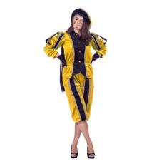 Zwarte pieten pak vrouw imitatie fluweel geel/zwart