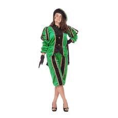 Pieten pak vrouw imitatie fluweel groen/zwart