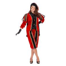 Pieten pak vrouw imitatie fluweel rood/zwart