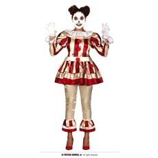 Killer Clown Kostuum Dames Goud/Rood