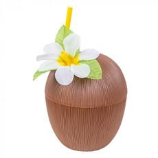 Kokosnoot drinkbeker met rietje