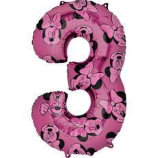 Folieballon Cijfer 3 Minnie Mouse Roze (66cm)