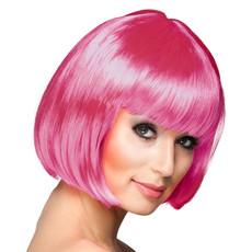 Bobline pruik cabaret ijzig roze