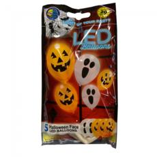 Halloween LED ballonnen Spook en Pompoen - 5 stuks
