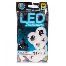 Witte Halloween Scary LED ballonnen - 5 stuks