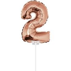 Folieballon Cijfer '2' Rose Goud 40cm met stokje