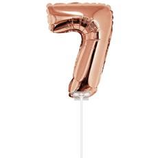 Folieballon Cijfer '7' Rose Goud 40cm met stokje