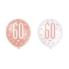 Ballonnen 60 Jaar Rosé Goud Glitz (6st)