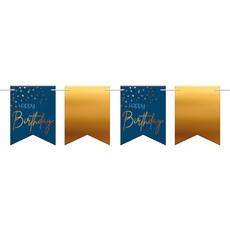 Vlaggenlijn Happy Birthday Blauw/Goud (6m)