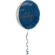 Folieballon 'Happy Birthday' Elegant True Blue (45cm)