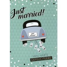 Wenskaart Just Married Groen