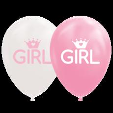 Ballonnen Geboorte Girl Roze/Wit (8st)
