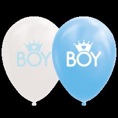 Ballonnen Geboorte Boy Blauw/Wit (8st)