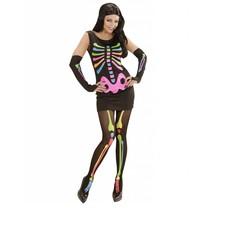 Neon Skelet vrouw kostuum