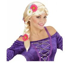 Repelsteeltje Rapunzel pruik met bloemen