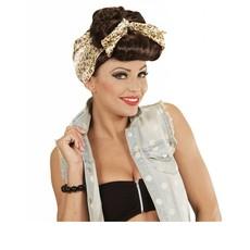 Grease pin-up girl pruik bruin met hoofddoek