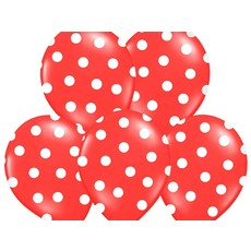 Ballonnen Pastel Rood Met Witte Stippen - 6 Stuks