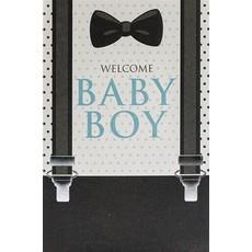 Geboorte kaart 'Welcome Baby Boy' Bretels