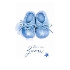 Wenskaart Geboorte Zoon Babyschoentjes Blauw