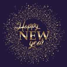 "Servetten ""Happy New Year"" blue/gold (20st)"