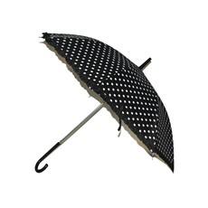 Bolletjes paraplu zwart met witte stippen