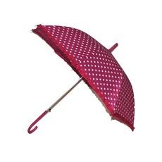 Bolletjes paraplu fuchsia met witte stippen