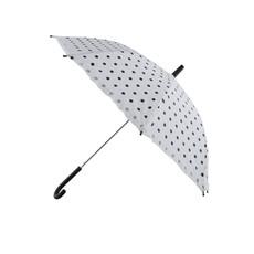 Bolletjes paraplu wit met zwarte stippen
