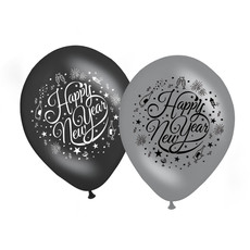 Happy new year ballonnen zwart/zilver