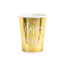 6 Cups Happy New Year goud 220ml