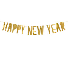 Letter Banner Happy New Year Goud