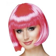 Pruik bobline cabaret roze