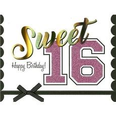 Verjaardagskaart Sweet 16 Glitters