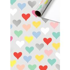 Rol Inpakpapier gekleurde hartjes