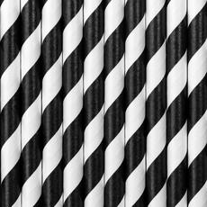 Papieren Rietjes Zwart/Wit Gestreept