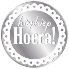 Stickers Rond Zilver 'Hiep hiep hoera'