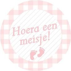 Stickers roze ''Hoera een meisje''